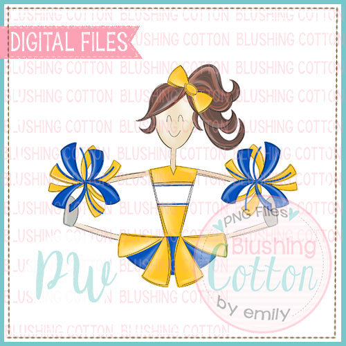 CHEERLEADER BRUNETTE HAIR YELLOW AND BLUE   BCPW