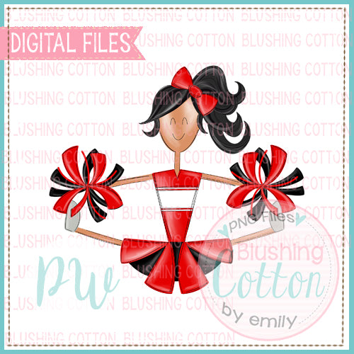 CHEERLEADER MEDIUM SKIN TONE RED AND BLACK   BCPW
