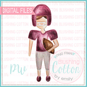 FOOTBALL PLAYER MAROON GRAY DESIGN WATERCOLOR PNG BCPW