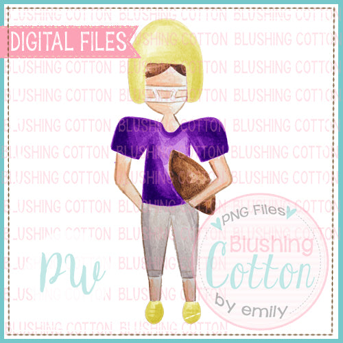 FOOTBALL PLAYER PURPLE AND YELLOW DESIGN WATERCOLOR PNG BCPW
