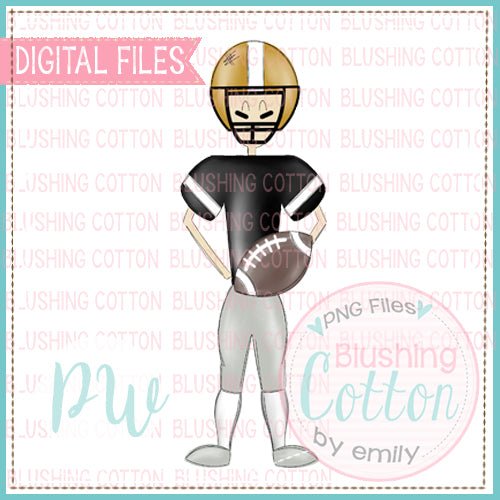 FOOTBALL PLAYER BLACK AND GOLD DESIGN   BCPW