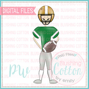 FOOTBALL PLAYER GREEN AND GOLD DESIGN   BCPW