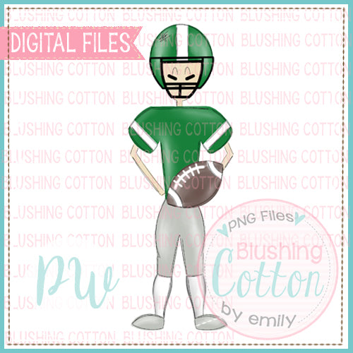 FOOTBALL PLAYER GREEN AND WHITE DESIGN   BCPW
