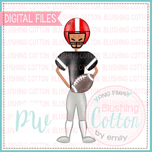 FOOTBALL PLAYER MEDIUM SKIN TONE BLACK AND RED   BCPW