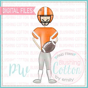 FOOTBALL PLAYER ORANGE AND WHITE DESIGN   BCPW