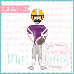 FOOTBALL PLAYER PURPLE AND YELLOW   BCPW