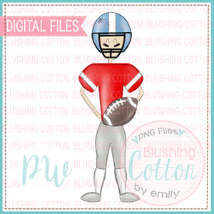 FOOTBALL PLAYER RED AND LIGHT BLUE DESIGN   BCPW