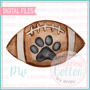 FOOTBALL WITH BLACK PAW PRINT DESIGN WATERCOLOR PNG BCPW