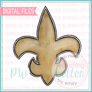 GOLD FLEUR DE LIS DESIGN WATERCOLOR PNG BCPW