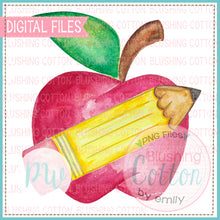 Load image into Gallery viewer, APPLE WITH CROSSED PENCIL WATERCOLOR PNG [CLONE]