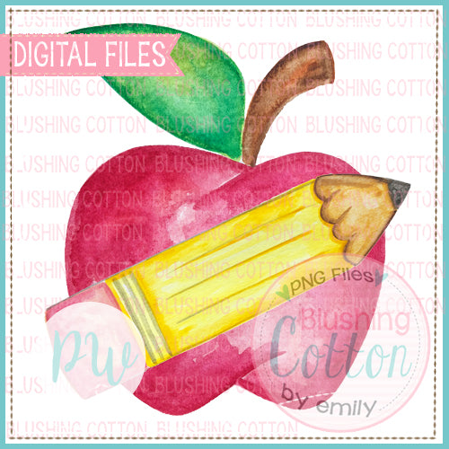 APPLE WITH CROSSED PENCIL WATERCOLOR PNG [CLONE]