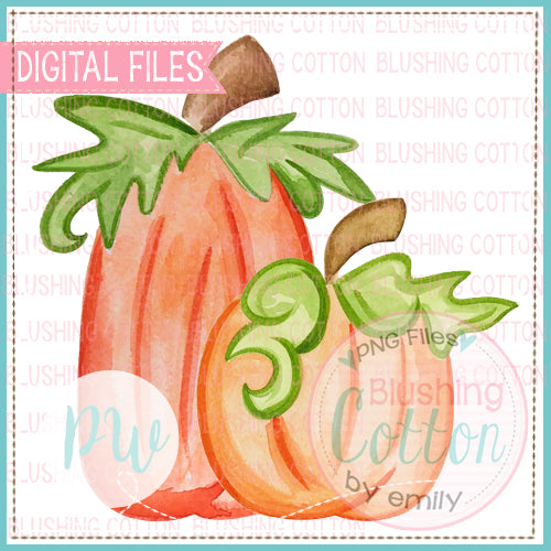 2 PERFECT PUMPKINS WATERCOLOR ART PNG