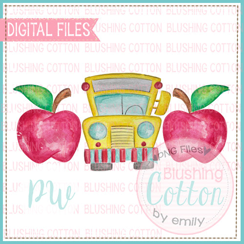 APPLE BUS TRIO WATERCOLOR PNG