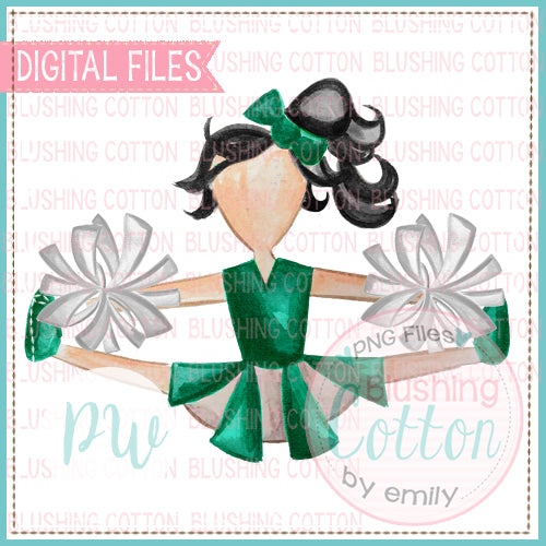 CHEERLEADER GREEN AND WHITE WITH BLACK HAIR WATERCOLOR PNG BCPW