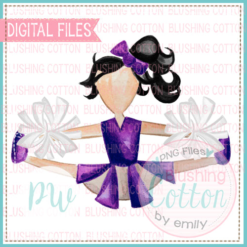 CHEERLEADER PURPLE AND WHITE WITH BLACK HAIR WATERCOLOR PNG BCPW