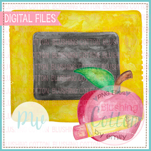 CHALKBOARD WITH APPLE AND PENCIL WATERCOLOR PNG