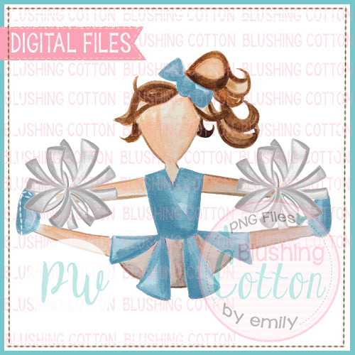 CHEERLEADER LIGHT BLUE AND WHITE WATERCOLOR PNG BCPW