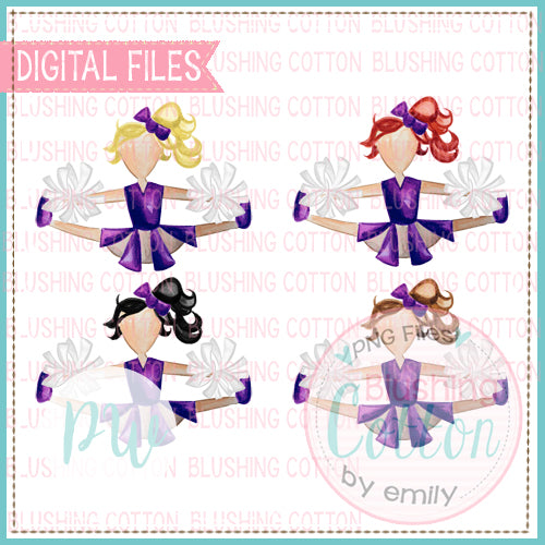 CHEERLEADER SET PURPLE AND WHITE WITH ALL HAIR COLORS WATERCOLOR PNG BCPW