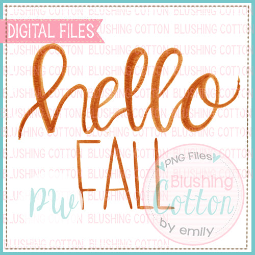 HELLO FALL ORANGE WATERCOLOR ART PNG