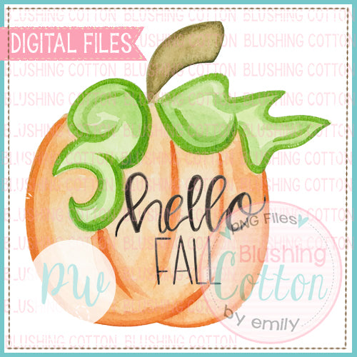 HELLO FALL PERFECT PUMPKIN WATERCOLOR ART PNG