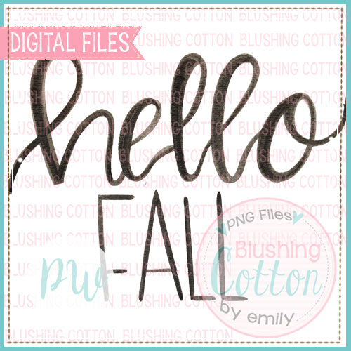 HELLO FALL (BLACK ONLY) WATERCOLOR ART PNG