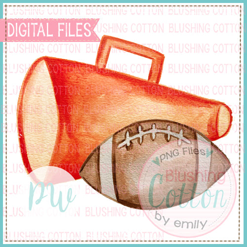 ORANGE MEGAPHONE AND FOOTBALL PNG WATERCOLOR - BCPW