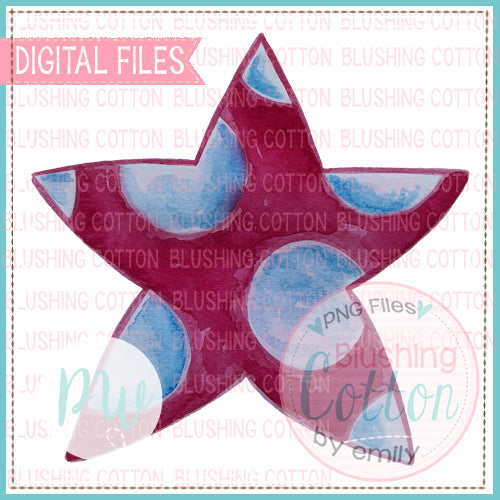 PATRIOTIC STAR WATERCOLOR PNG