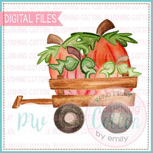 PERFECT PUMPKIN WAGON WATERCOLOR ART PNG