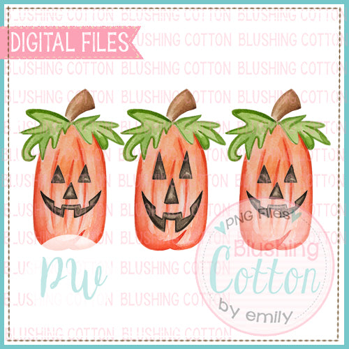 PERFECT TALL PUMPKIN JACK O LANTERNS WATERCOLOR ART PNG