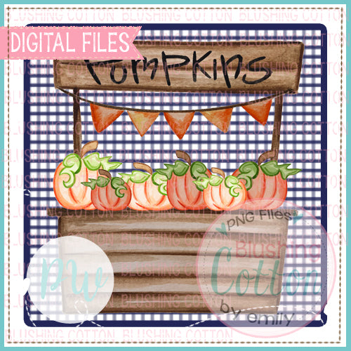 PUMPKIN STAND ON NAVY CHECKED BACKGROUND - BCPW