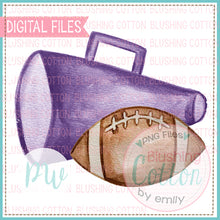 Load image into Gallery viewer, PURPLE MEGAPHONE AND FOOTBALL WATERCOLOR ART PNG
