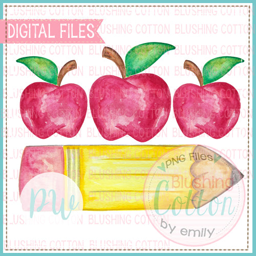 RED APPLE TRIO PENCIL WATERCOLOR ART PNG