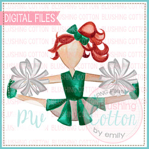 CHEERLEADER GREEN AND WHITE WITH RED HAIR WATERCOLOR PNG BCPW