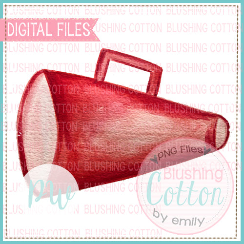 RED MEGAPHONE WATERCOLOR ART PNG