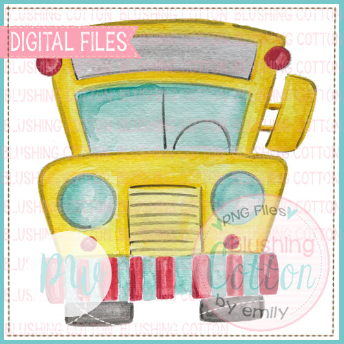SCHOOL BUS BACK TO SCHOOL WATERCOLOR PNG