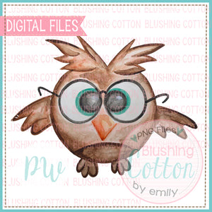 SMART OWL WATERCOLOR PNG