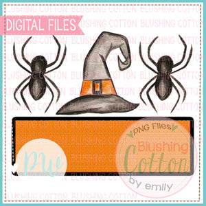 SPIDERS AND WITCH HAT TRIO WITH NAMEPLATE PNG WATERCOLOR - BCPW