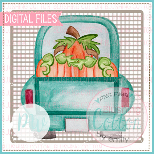 TRUCK BACK WITH PUMPKINS IN TAN ROUND SQUARE PNG WATERCOLOR ART - BCPW