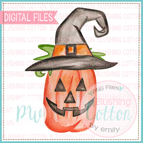WITCH HAT PERFECT TALL PUMPKIN HALLOWEEN WATERCOLOR ART PNG