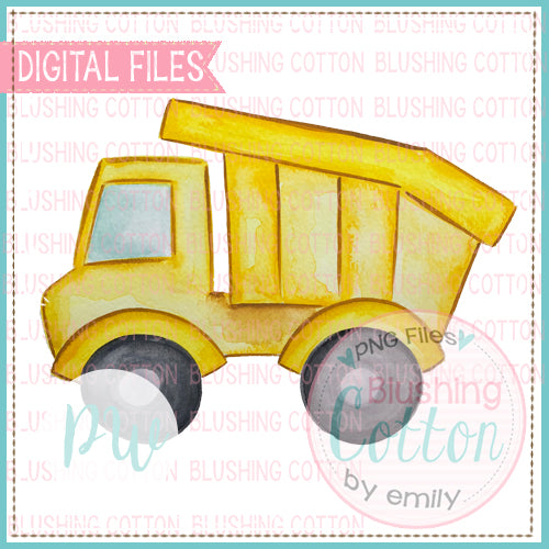 YELLOW DUMPTRUCK WATERCOLOR ART - BCPW