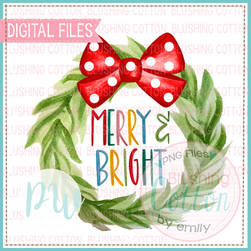 MERRY CHRISTMAS WREATH WITH RED BOW  HAND PAINTED WATERCOLOR DESIGN BCPW