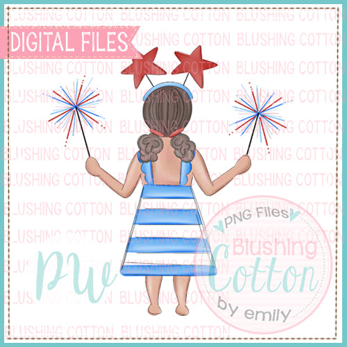 PATRIOTIC SPARKLER GIRL WITH DARK SKIN DESIGN BCPW