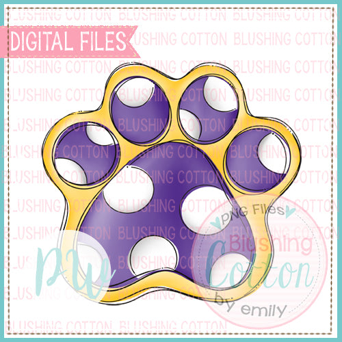 PAW PRINT PURPLE AND YELLOW DESIGN   BCPW
