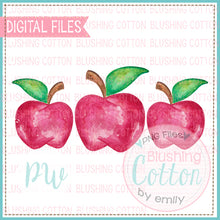 Load image into Gallery viewer, RED APPLE TRIO BACK TO SCHOOL WATERCOLOR PNG