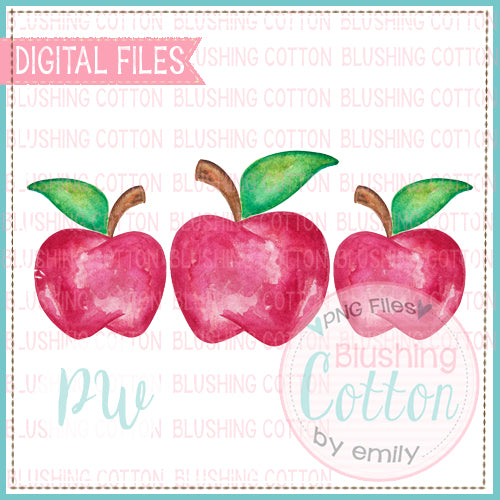 RED APPLE TRIO BACK TO SCHOOL WATERCOLOR PNG