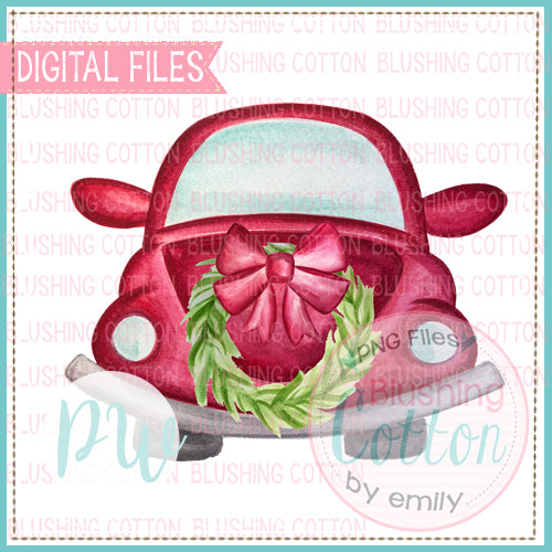 RED BUG FRONT VIEW WITH WREATH DESIGN WATERCOLOR PNG BCPW