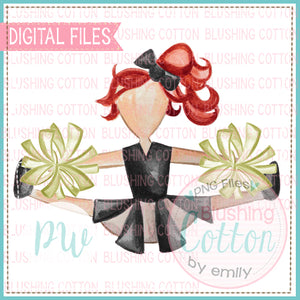 CHEERLEADER BLACK AND GOLD WITH RED HAIR DESIGN WATERCOLOR PNG BCPW