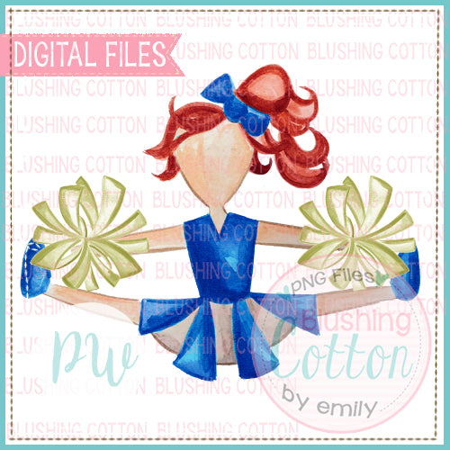CHEERLEADER RED HAIR WITH ROYAL BLUE AND GOLD DESIGN WATERCOLOR PNG BCPW