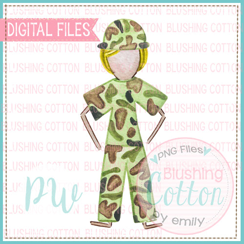 STICK FIGURE ADULT MALE MILITARY BLONDE HAIR BCPW