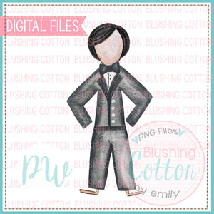 STICK FIGURE GROOM BLACK HAIR BCPW